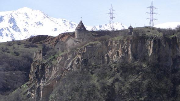 O Mosteiro de Tatev visto do teleférico